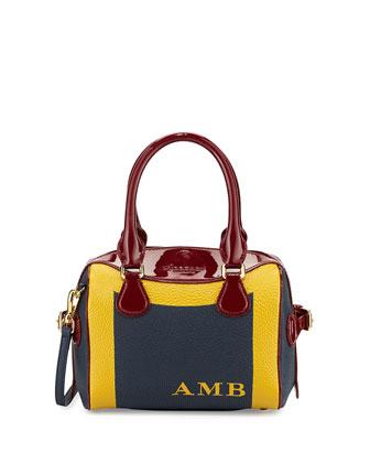Monogram Patent-Trim Mini Painted Satchel Bag, Storm Blue/Rosehip