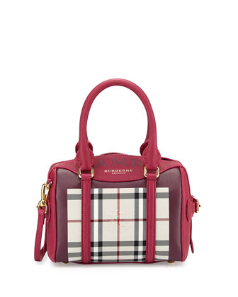 Monogram Mini Check Satchel Bag, Tulip/Purple