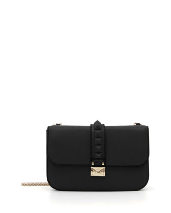 Tonal Rockstud Medium Flap Shoulder Bag, Black