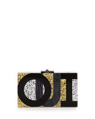 Alicia Small Lucite Clutch Bag, Oui Non