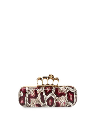 Python Long Knuckle-Duster Clutch Bag, Natural/Pink