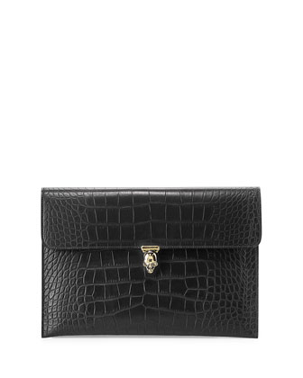 Skull Croc-Embossed Envelope Clutch Bag, Black