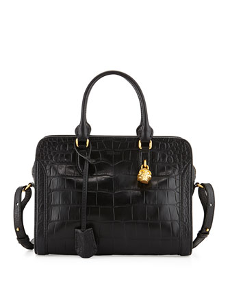 Small Skull Padlock Croc-Embossed Satchel Bag, Black