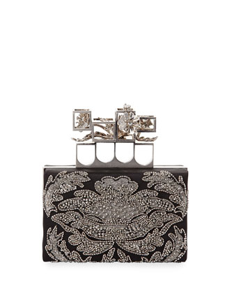 Embellished Satin Box Clutch Bag, Black