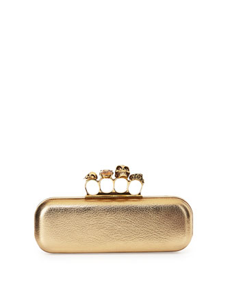 Long Knuckle-Duster Clutch Bag, Light Gold