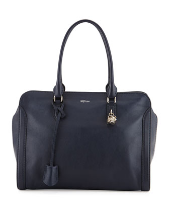 Padlock Zip-Around Satchel Bag, Navy