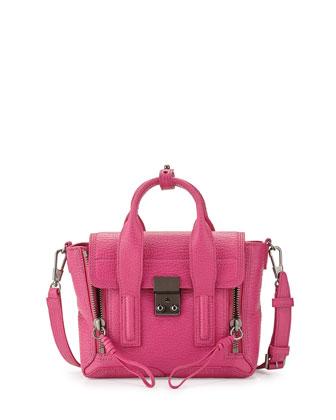 Pashli Mini Leather Satchel Bag, Bright Fuchsia