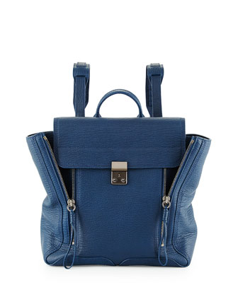 Pashli Zip Leather Backpack, Lapis
