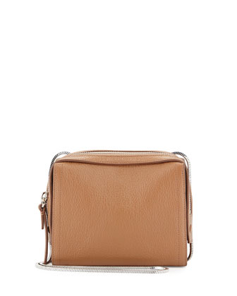 Soleil Mini Zip Crossbody Bag, Cuoio