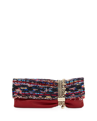 Chandra Woven & Leather Charm Clutch Bag