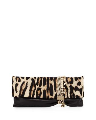 Chandra Leopard-Print Half Calf Hair Charm Clutch Bag
