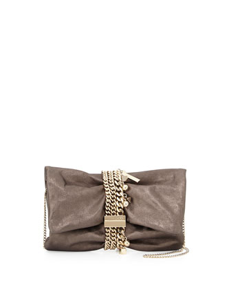 Chandra Mini Tumbled Leather Charm Clutch Bag
