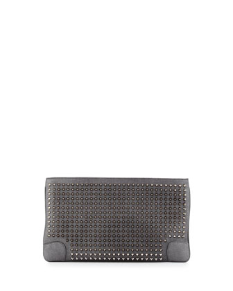 Loubiposh Spikes Metallic Clutch Bag, Gray