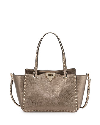 Rockstud Metallic Small Tote Bag