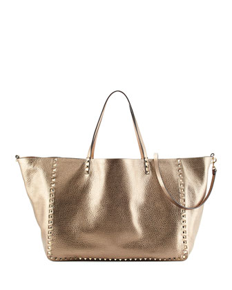 Rockstud Metallic Large Tote Bag, Silver/Soft Gold