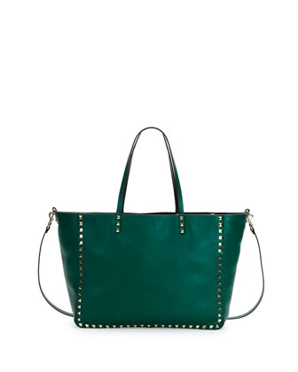 Rockstud Medium Reversible Tote Bag, Green/Black