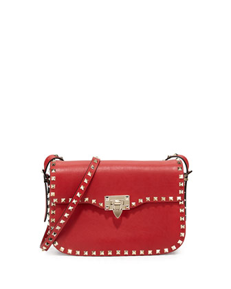 Rockstud Round Flap Shoulder Bag, Red