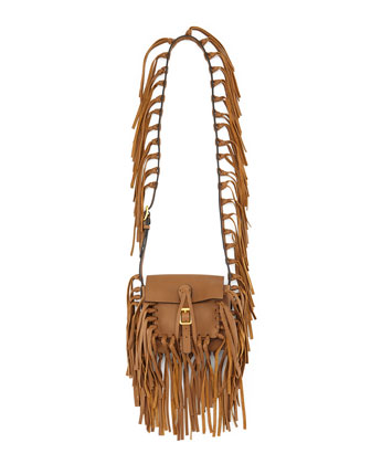 C-Rockee Pebbled Leather Fringe Shoulder Bag, Camel