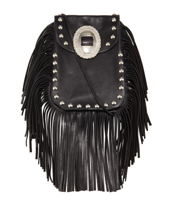 Anita Small Leather Fringe Pouch Bag, Black
