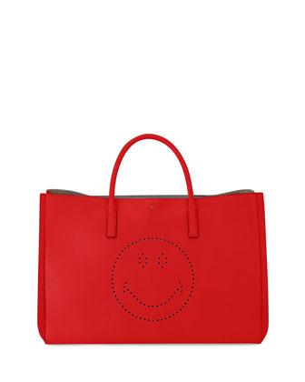 Ebury Maxi Smiley Tote Bag, Bright Red