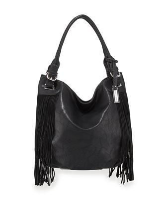Lust Tote Bag with Fringe, Black