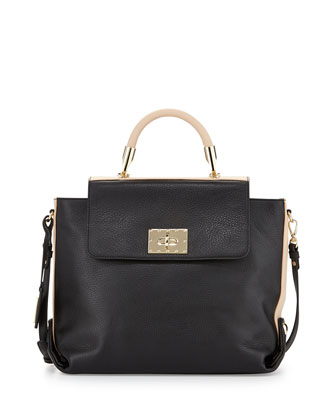 Adeline Leather Two-Tone Satchel Bag, Black/Latte