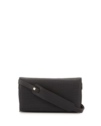 Calfskin Clutch w/Shoulder Strap, Black