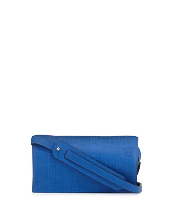 Calfskin Clutch Bag w/Shoulder Strap, Electric Blue