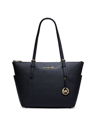 Jet Set East-West Saffiano Tote Bag, Navy