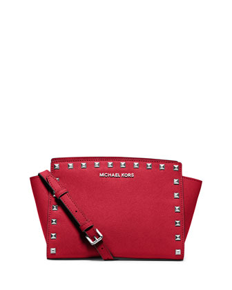 Selma Studded Medium Messenger Bag, Chili