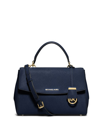 Ava Medium Saffiano Satchel Bag, Navy