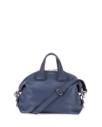 Nightingale Medium Waxy Leather Satchel Bag, Dark Blue