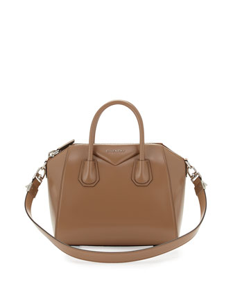 Antigona Small Leather Satchel Bag, Dark Beige