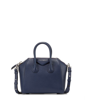 Antigona Mini Leather Satchel Bag, Dark Blue