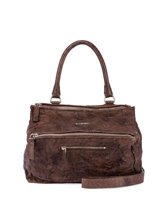 Pandora Medium Leather Satchel Bag, Dark Brown