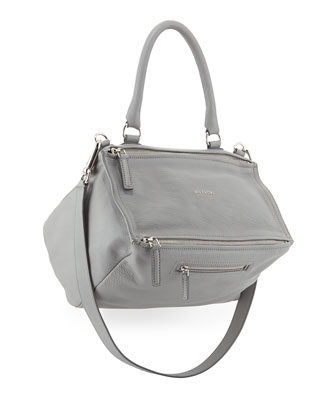 Pandora Medium Leather Satchel Bag, Pearl Gray
