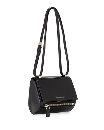 Mini Pandora Box Patent Shoulder Bag, Black