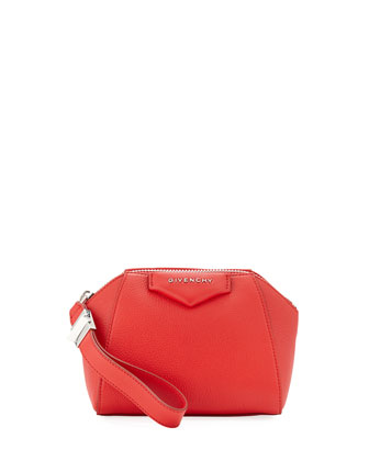 Antigona Small Beauty Wristlet Bag, Bright Red