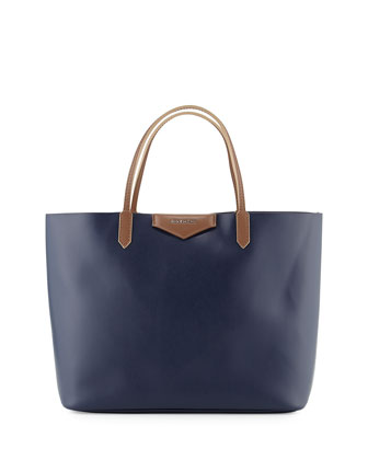 Antigona Large Leather Shopper Bag, Dark Blue