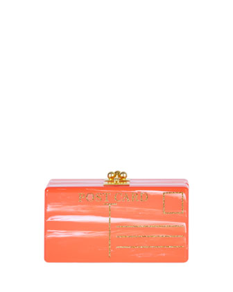 Jean Postal Clutch Bag, Red Marble