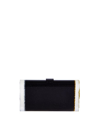 Lara Backlit Ice Clutch Bag, Obsidian Multi