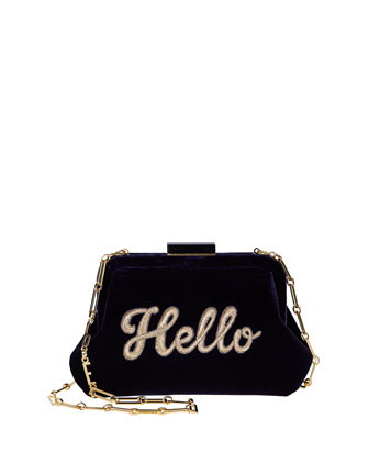 Lauren Hello Embroidered Velvet Shoulder Bag, Navy