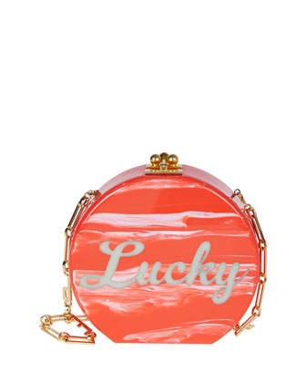 Oscar Lucky Round Clutch Bag, Red Marble