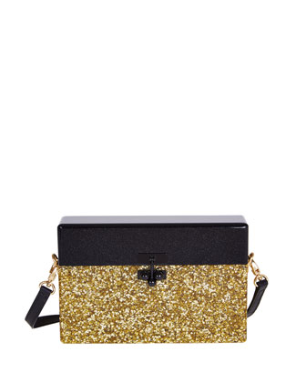 Half-and-Half Small Trunk Bag, Gold/Obsidian