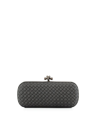 Faille Stretch Knot Minaudiere Bag, Medium Gray