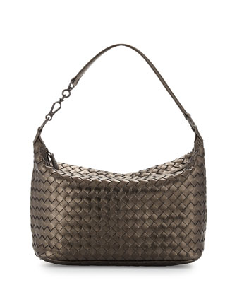 Intrecciato Leather Small Shoulder Bag, Bronze