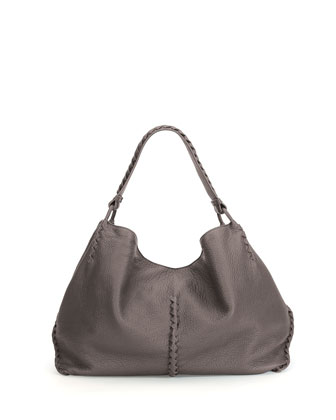 Cervo Large Shoulder Bag, Light Gray