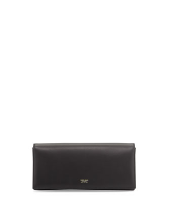 Clio Napa East-West Clutch Bag, Black