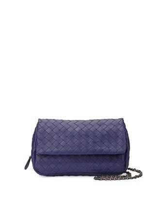 Intrecciato Small Chain Crossbody Bag, Royal