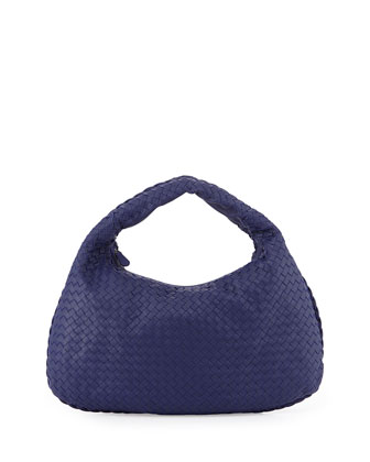 Veneta Intrecciato Large Hobo Bag, Royal Blue